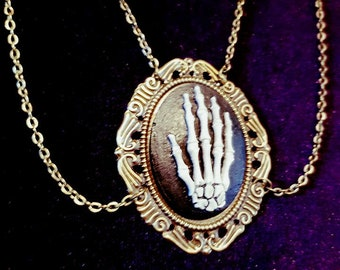 Skeleton Hand Cameo Necklace