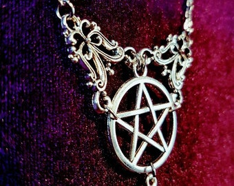 Opalite Pentagram Necklace - gemstone gothic occult wicca pagan pendant