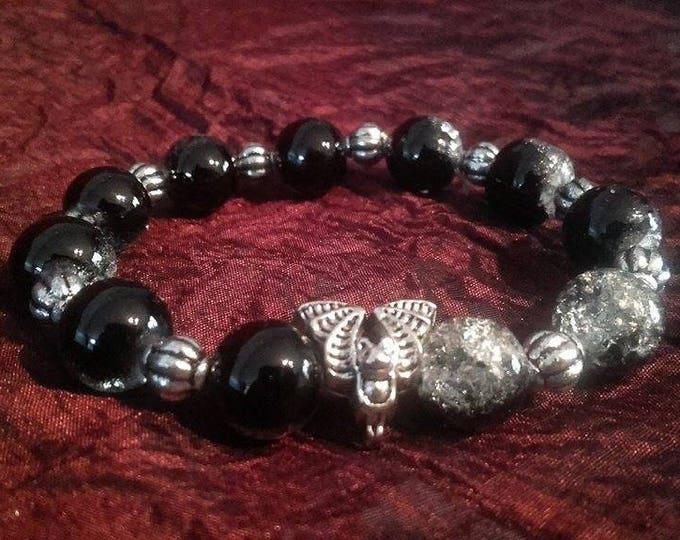 Vampire Bat Bracelet - gothic beads