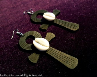 Black Wooden Ankh Earrings with Cowri Shells