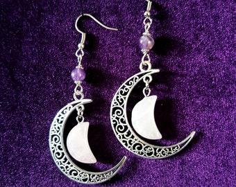 Crescent Moon Gemstone Earrings - goth gothic elegant rose quartz amethyst occult jewellery