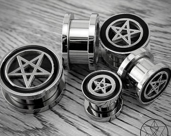 Stainless Steel Pentagram Plugs ( Different Sizes)