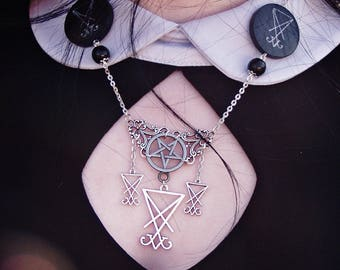 Luciferian Necklace - Lucifer  satan inverted pentagram  occult witch gothic witchcraft left hand path blackmagic baphomet onyx