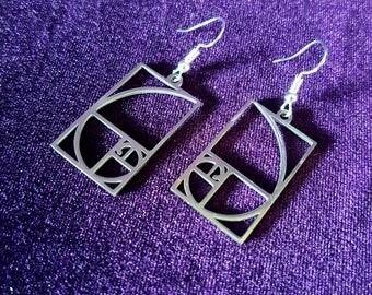 Stainless Steel Framed Fibonacci Earrings (2 styles)