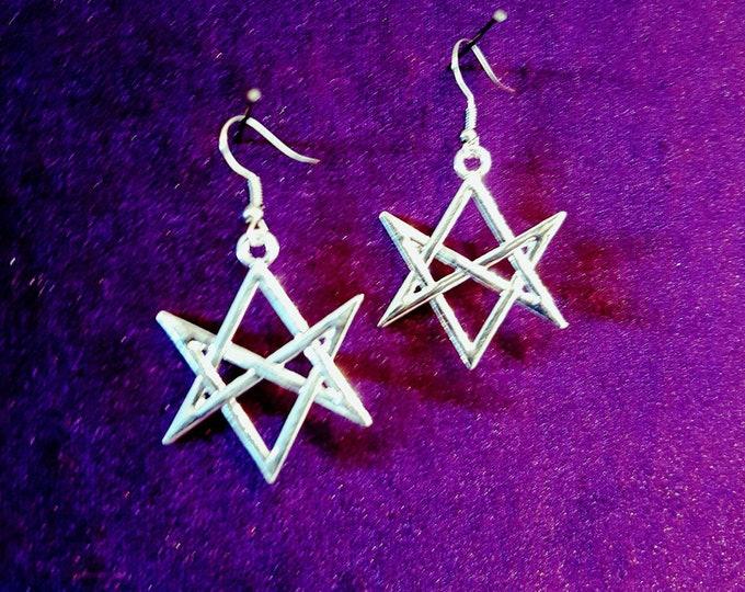 Unicursal Hexagram Earrings - occult goth left hand path ritual magick aleister crowley golden dawn