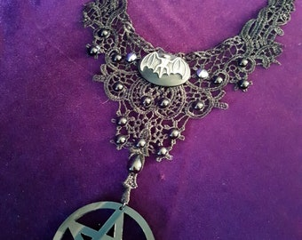 Victorian Pentacle Bat Choker - gothic occult bat lace neckwear with spikes and chains