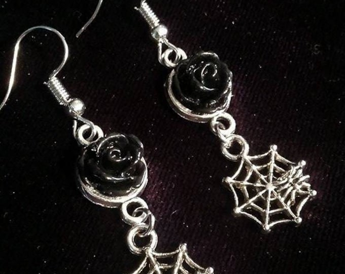 Spiderweb black rose earrings - spiderweb spider thecure gothic blackrose rose black witch wicca helloween