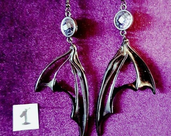 Wings of Decay Earrings - gothic goth black resin wings unique earrings