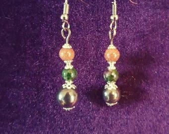 Self Love Hematite Unakite Goldsandstone earrings - gemstones earrings gothic witch wicca pagan healing protection grounding