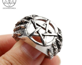 Pentagram Skeleteon Hands Ring - gothic occult pentacle wicca satanic