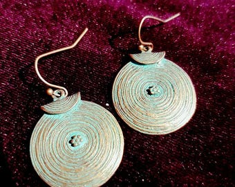 Antique copper earrings - earrings antique patina gothic boho bohemain witch pagan