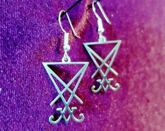 Stainless Steel Sigil Of Lucifer Earrings