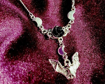 Black Rose Bat Necklace - crescent moon witchy goth gothic flying bat darkness witch vampire