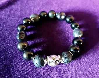 Stolas Owl Bracelet - occult demon precious stones astronomy solomon lucifer goth left hand path magick