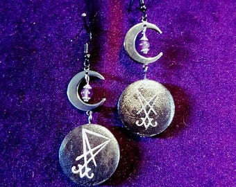 Luciferian Moon Earrings - lucifer sigil of lucifer moon witch amethyst gemstones occult gothic LHP Magic