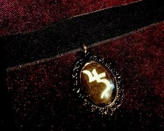 Sopor Aeternus Choker - Sopor Aeternus Gothic Jusa Saturnus Jupiter Velvet Black Velvet collar