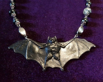 Resin Bat Necklace  (Handcrafted)
