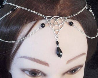Triquetra Headchain - gothic wiccan occult chain headpiece