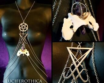 Sigil of Lucifer Coyote Bone Body Chain Harness