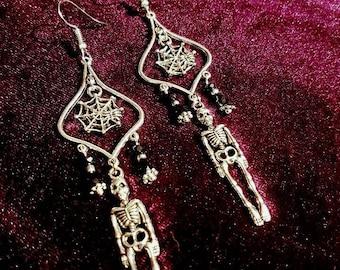 Skeleton Earrings With Cobweb.