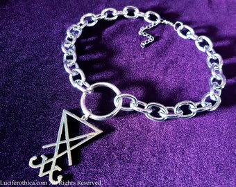 Sigil of Lucifer Ring Chain Choker