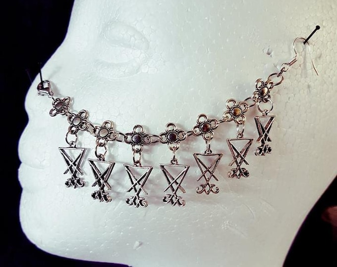 7 Ankh &  7 Sigil of Lucifer Nosechain - goth gothic occult nose jewellery nose piercing
