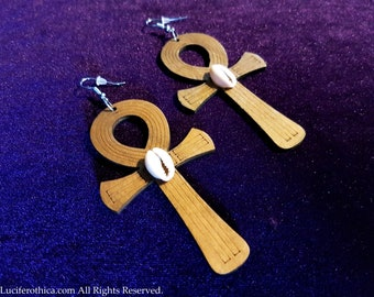 Wooden Ankh Earrings with Cowri Shells