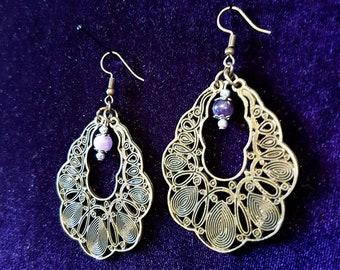 Peacock Amethyst Earrings