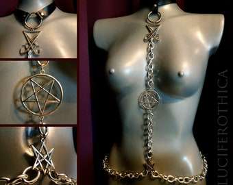 Sigil of Lucifer Pentagram Hexagram Body Chain Harness Belt