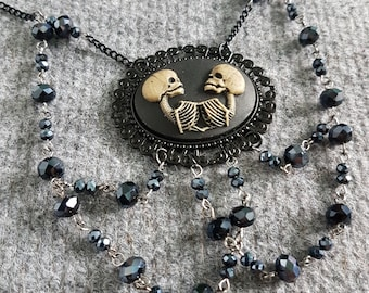 Twin Skeleton Necklace - Handcrafted  creepy goth gothic siamese twins horror