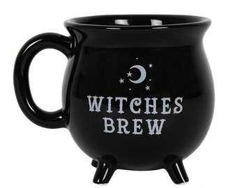 Witches Brew Cauldron Mug - Witch Mug Goth Gothic Black Occult Wicca