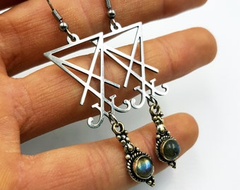 Sigil of Lucifer Labradorite Earrings