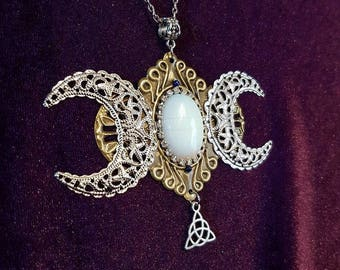 Opalite Hecate Necklace - witch occult triquetra wicca pagan moon opal gothic gemstone