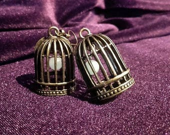 Birdcage Amazonite / Amethyst Earrings