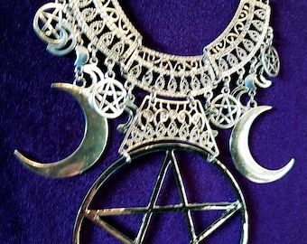 Wiccan Crescent Moon Pentagram Necklace - goth gothic moon goddess big half moon occult wiccan pendant