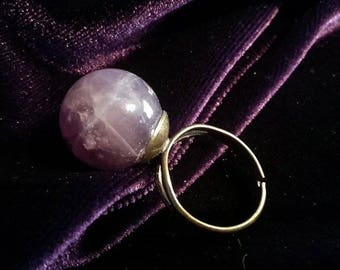 Sphere Gemstone rings  - sphere gothic occult gemstones big ring edelstenen