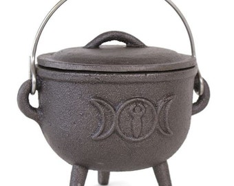 Triple Moon Iron Cast Cauldron