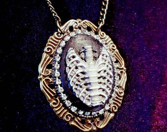 Ribcage Cameo Necklace with Rhinestones
