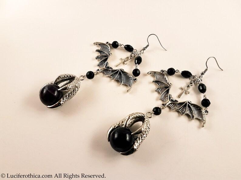 Vampire Bat Amethyst Claw Earrings gothic goth bat earrings witch skull ankh
