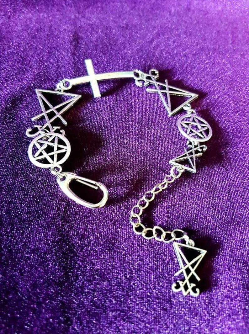 Sigil Satan Lucifer Bracelet Occult Satanic Symbol Leather Cuff