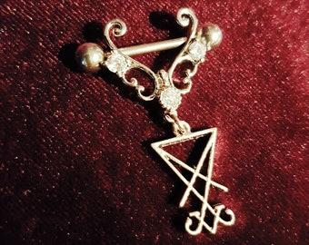 Elegant Sigil of Lucifer Nipple Piercing Jewel (2 Styles)