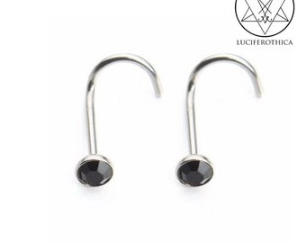 Black Stone Nose Piercing