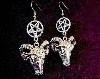 Baphomet Inverted Pentagram Earrings