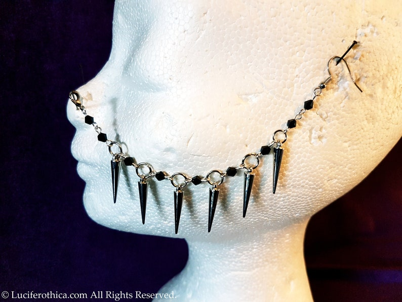 2 Styles goth gothic occult nose jewellery nose piercing Spike Nosechain