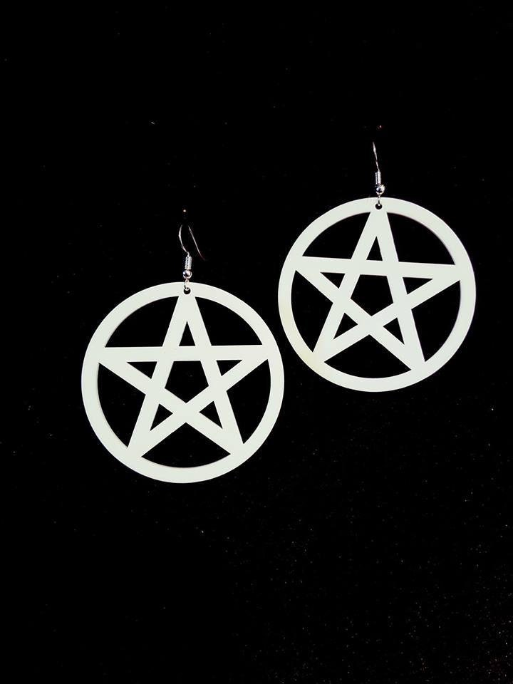 White Pentagram Earrings Goth Gothic White Witch Wicca Wiccan