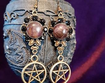 Earrings with pentagram, amethyst and rhinestones.