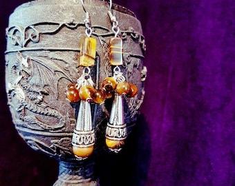 Tiger Eye Cluster Gemstone Earrings