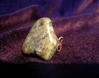 Big chunk Jade Nephrite and Tourmaline Rings