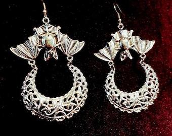 Upside Down Moon Bat Earrings