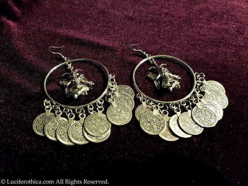 occult left hand path seal of baphomet Luciferian goat of mendes Baphomet Coin Earrings